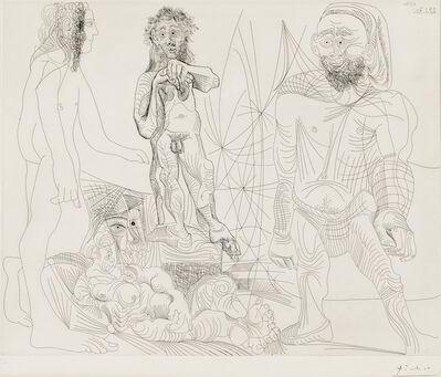 Pablo Picasso, 'Vieux modèle-jeune odalisque, femme androgyne, berger arcadien et pêcheur à la Boina pendante, second state of two, 1970, plate 8 from Séries 156', 1978