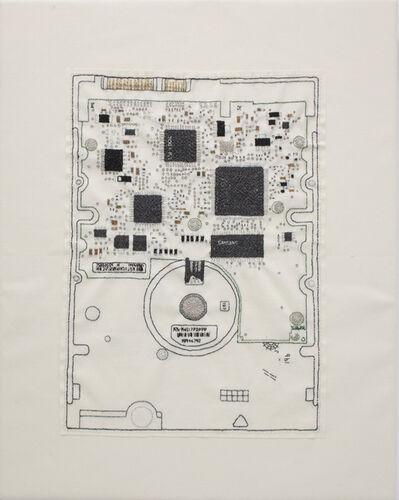 Stitch Dog, 'Hand-stitched iMac circuit board', 2017