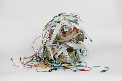 Mounir Fatmi, 'Hard hat interiors, cables, pedestal, glass case', 2019