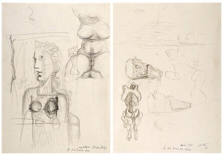 Salvador Dalí, 'Études pour le tableau Visage Paranoïaque (recto) / Torse féminim, études de lèvres, d'un visage de profil, d'un prfil de buste féminim, d'un chapeau ', ca. 1935