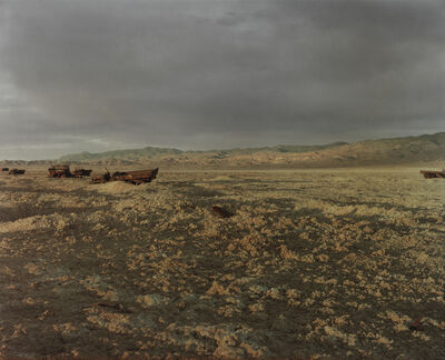Richard Misrach, 'Bomb and Convoy, Bravo 20 Bombing Range, Nevada', 1986