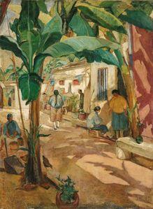 Liao Chi-Chun 廖繼春, 'Courtyard with Banana Trees', 1928