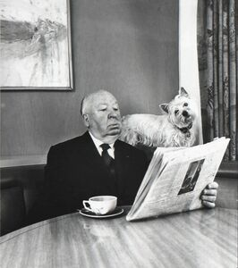 Philippe Halsman, 'Alfred Hitchcock and his Sealyham Terrier', 1974