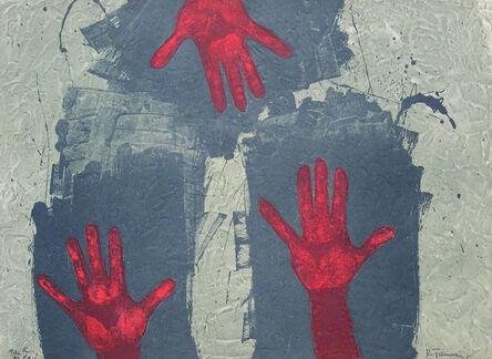 "Rufino Tamayo, '""Manos Sobre Fondo Azul""', 1976"