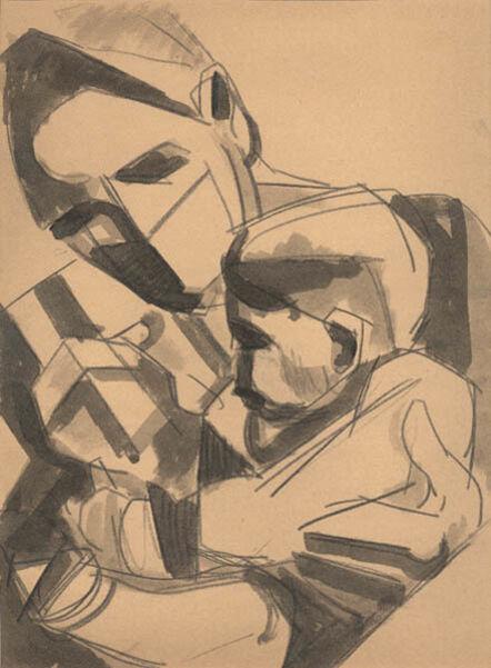 Herbert Barnett, 'Mother in Surgical Mask Holding her Child', ca. 1946-47