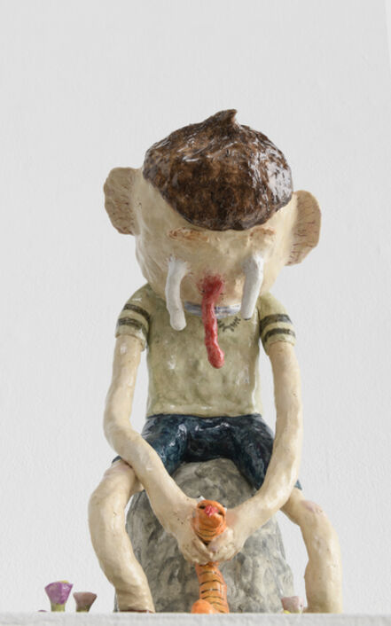 Joakim Ojanen, 'Boy on Stone with Orange Snake', 2018