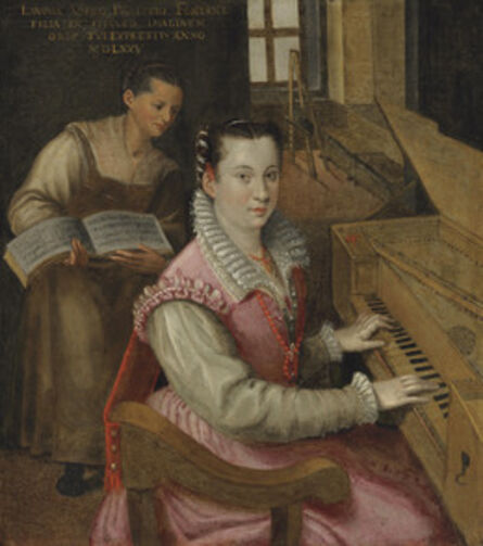 Studio of Lavinia Fontana, 'Self-portrait at the keyboard with a maidservant'