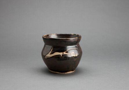 Shōji Hamada, 'Jar, iron brown glaze with angled sides and mouth rim and decorated with sgraffito and abstract brushwork', n/a