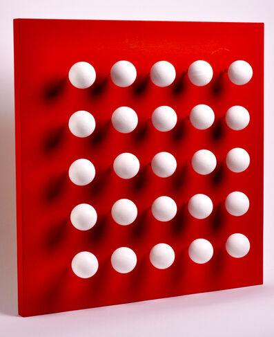 Antonio Asis, 'boules tactiles sur font rouge', 2015