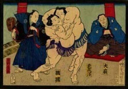 Utagawa Kuniaki II, 'Sumo Wrestlers in the Ring with Referee and Audience', 1868-1912