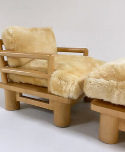 Karl Springer, 'Rare Dowelwood Lounge Chair and Ottoman with Sheepskin Cushions', 1970s