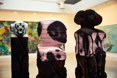 """Huma Bhabha, '""""With Blows,"""" """"With Words,"""" and """"Mechanic"""" (Installation View)', 2015"""
