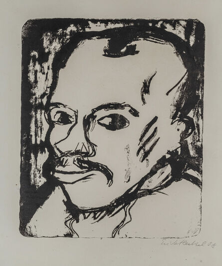 Erich Heckel, 'MÄNNERKOPF (SELBSTBILDNIS)', 1909