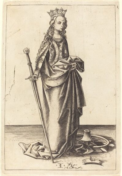 Israhel van Meckenem, 'Saint Catherine', ca. 1480/1490