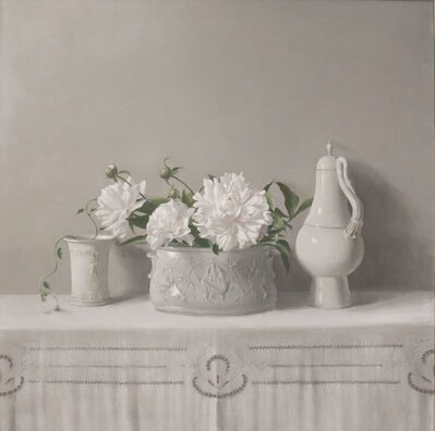Raymond Han, 'Untitled (Still Life, Decorative Pot with Peonies in Porcelain Planter, Goose Pitcher)', 1996