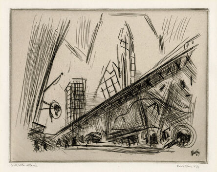 John Marin (1870-1953), 'Downtown the El - a rare proof before steelfacing', 1921
