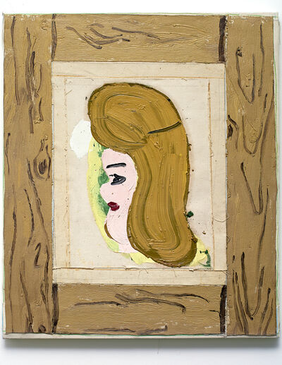 Rose Wylie, 'P.C. Small Head with Frame III', 2014
