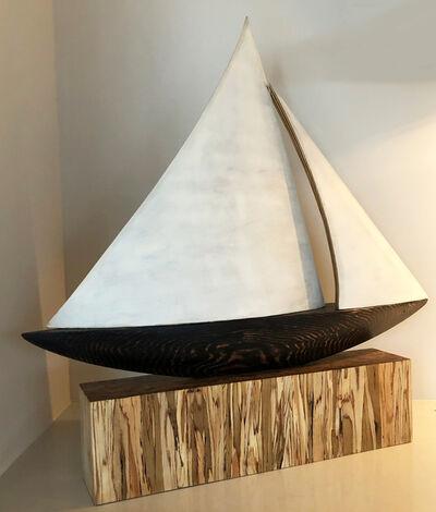 Aurelio Torres, 'Untitled (mono-hull in black with white sails)', 2017