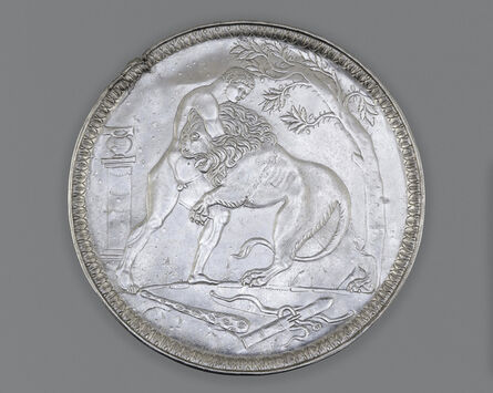 Unknown Artist, 'Plate with Hercules Wrestling the Nemean Lion', ca. 500