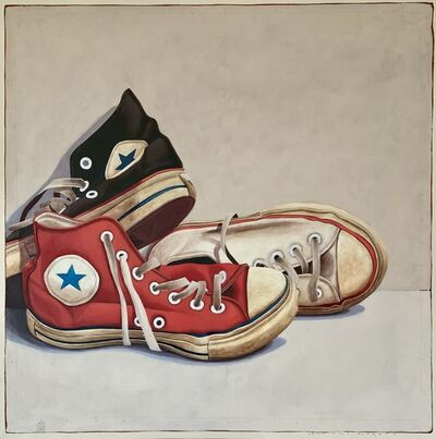 """Santiago Garcia, '""""#1318"""" Photorealistic oil painting of red, white and black converse', 2019"""