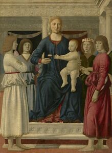 Piero Della Francesca, 'Virgin and Child Enthroned with Four Angels'