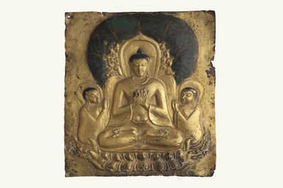 'Plaque with image of seated Buddha', 11th-13th century