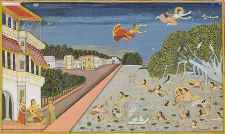 Amardas Bhatti, 'Jalandharnath flies over King Padam's palace, from the Suraj Prakash', 1830