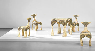 Carlo Bugatti, 'Rare games table and set of four chairs', circa 1902