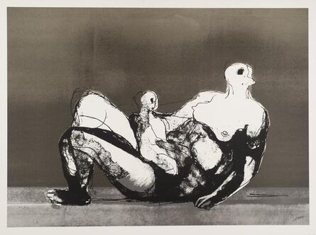 Henry Moore, 'Reclining Mother and Child with Grey Background (1983) (signed)', 1983