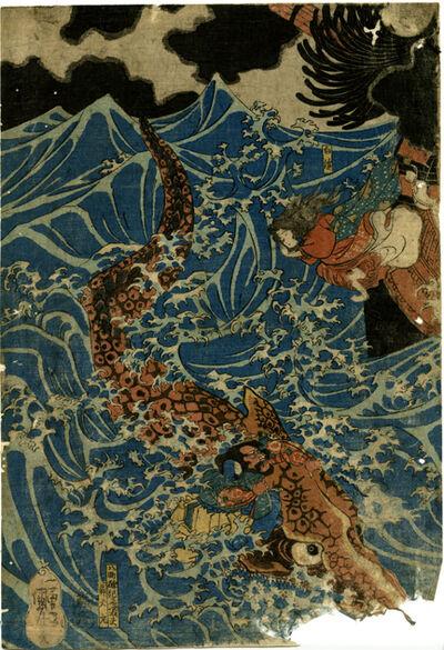 Utagawa Kuniyoshi, 'On the Sea at Mizumata, Hogo Province, Tametomo Encounters a Storm', 1797