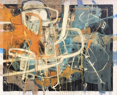 """Santiago Garcia, '""""Electric is the Law III"""" Abstract oil painting with orange, blue, white and black', 2012"""