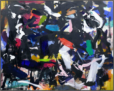 Scott Pattinson, 'Ouvert No 46 - bold, black, green red, blue, gestural abstract oil on canvas', 2018