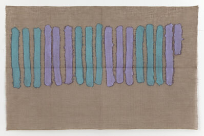 Giorgio Griffa, 'Verticale verde e viola', 1977