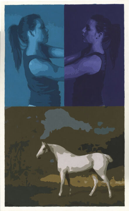 Sean Cain, 'Triptych with Figures and Stubbs White Horse', 2017