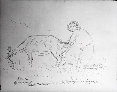 André Dunoyer de Segonzac, 'Das Melken einer Ziege', ca. 1945