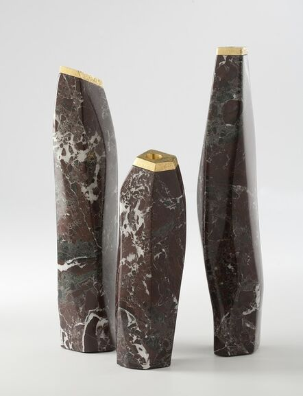 "Aldus, '""Dolmen,"" Marble and gilt Bronze Candlestick', 2014"