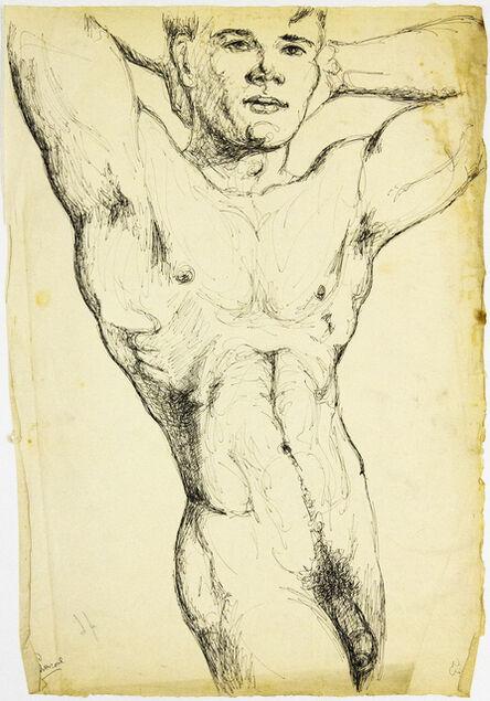 John S Barrington, 'Flexing Male Nude', 1921-1991