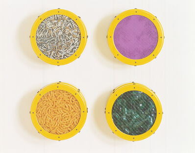 Ashley Bickerton, 'Small Yellow Catalog: Cigarettes, Purple Pigment, Cheese Doodles, Broken Glass', 1991