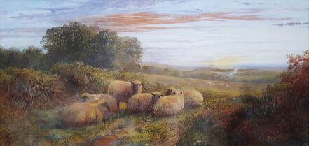 George Shalders, 'Sheep in Landscape at Dusk', 1873