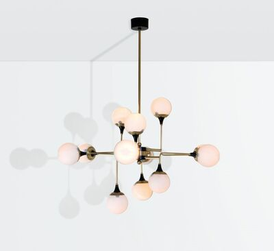 Stilnovo, 'a chandelier with a brass structure and opaline glass shades', ca. 1960