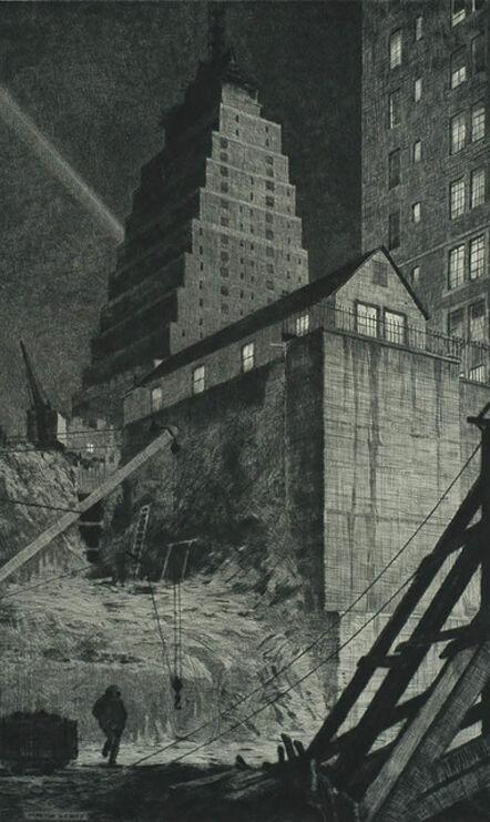Martin Lewis, 'Building a Babylon, Tudor City, NY', 1929