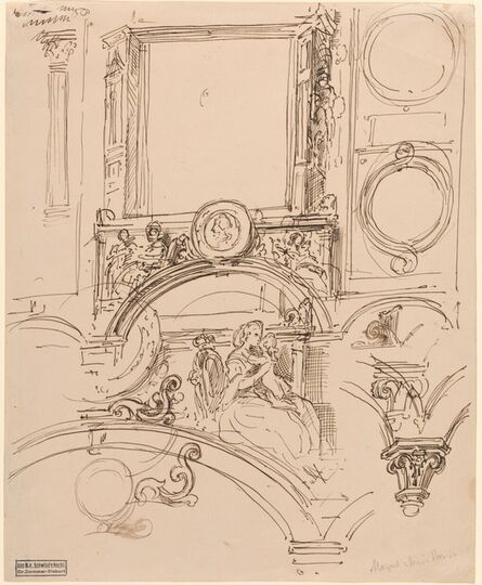 Moritz von Schwind, 'Architectural Details for a Wall Decoration with Empress Maria Theresia Embracing the Young Wolfgang Amadeus Mozart', ca. 1864