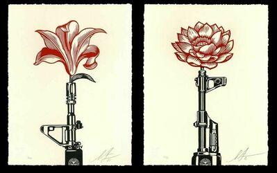 Shepard Fairey, 'Shepard Fairey OBEY AK-47 LOTUS & AR-15 LILY Signed & Numbered Vietnam War Prints Diptych Letterpress Set', 2021