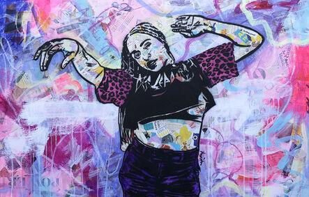 Amy Smith, 'Feeling Good - Contemporary Female Pop Portrait - (Purple + Pink + Black + White)', 2021