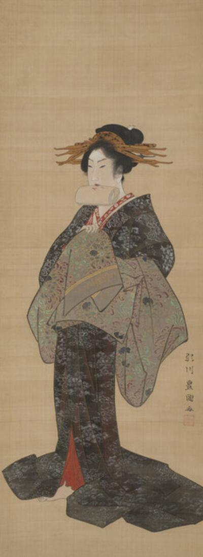 Utagawa Toyokuni I, 'Courtesan Tying Her Obi'