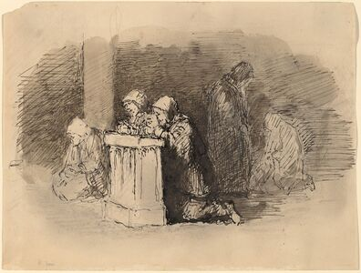 Robert Walter Weir, 'Praying Figures in a Church, Florence', ca. 1824/1827