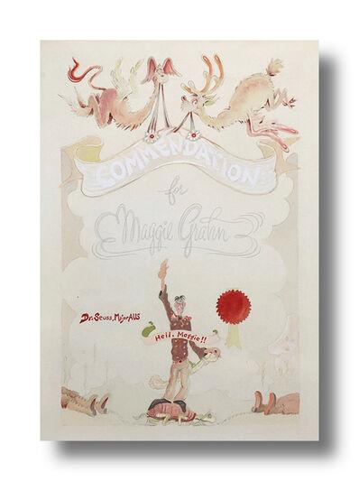 "Dr. Seuss, 'Commendation for Maggie Grahn ""Heil, Maggie!!"" ', ca. 1940s"