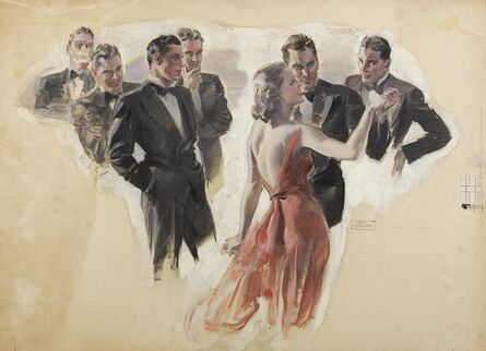 John Lagatta, 'A Woman in Red Dress Dancing Among a Number of Tuxedoed Men', 1938