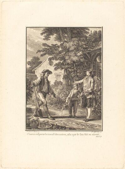 Pierre-Philippe Choffard after Jean-Michel Moreau, 'Chacun respecte le travail des autres, afin que le sein soit en sûreté', 1777/1779
