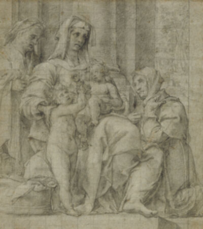 Bartolomeo Cesi, 'Holy Family with Saint John the Baptist Adored by an Unidentified Figure', 1590